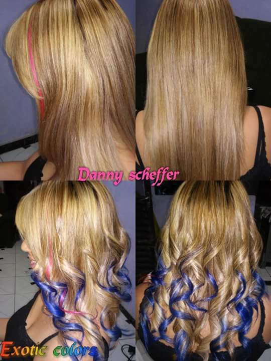 ombre hair azul  cabelo auxiliar cabeleireiro(a)