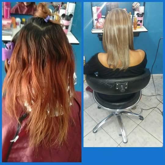 Correção de cor com mechas cabelo cabeleireiro(a)
