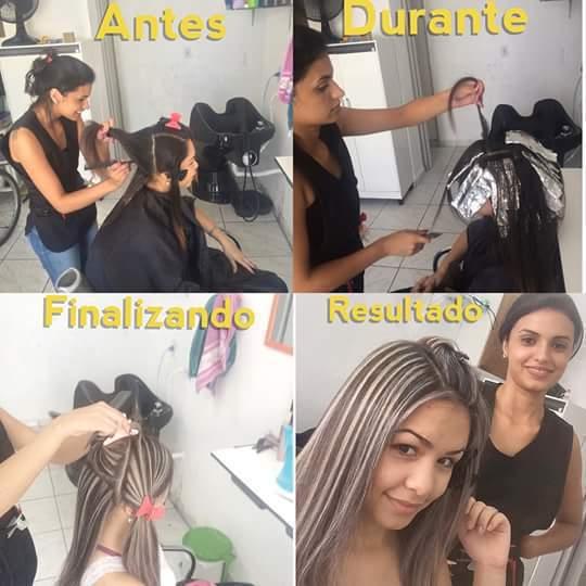 Mechas paginadas, tonalização, matização reconstrução e finalização cabelo cabeleireiro(a)