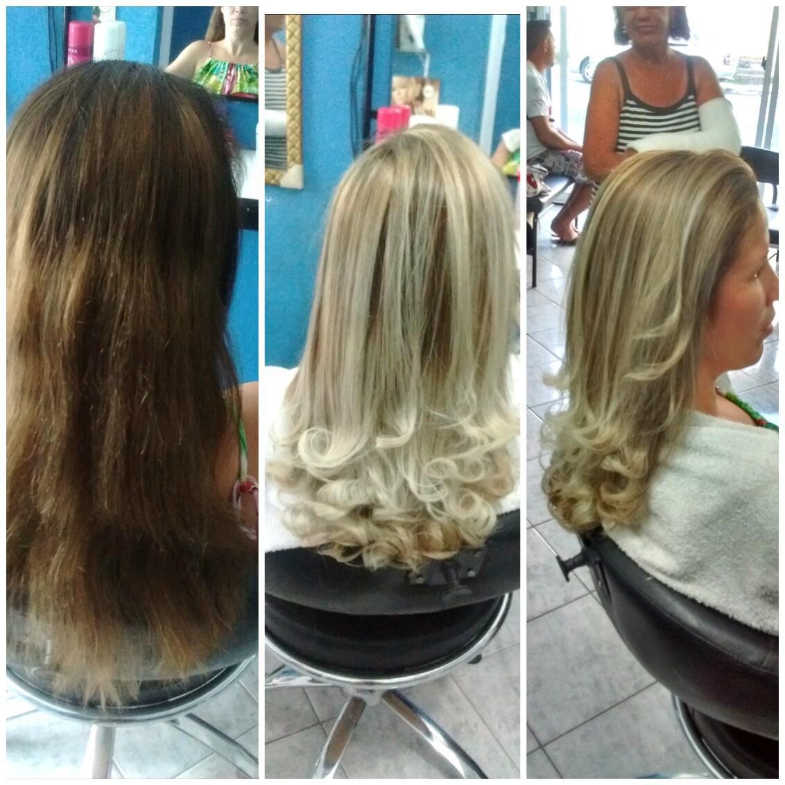 Mechas em cabelos com resíduos de coloração, tonalização matização reconstrução corte cabelo cabeleireiro(a)
