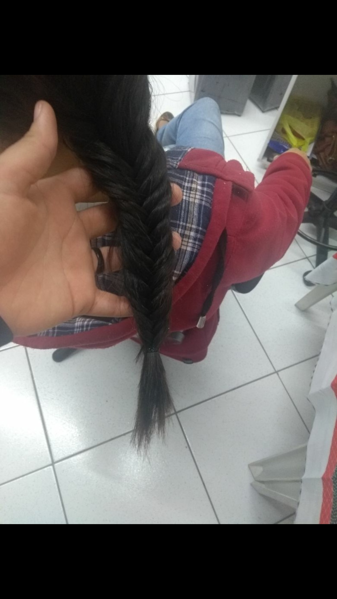 Trança escama de peixe cabelo estudante (cabeleireiro) auxiliar cabeleireiro(a)