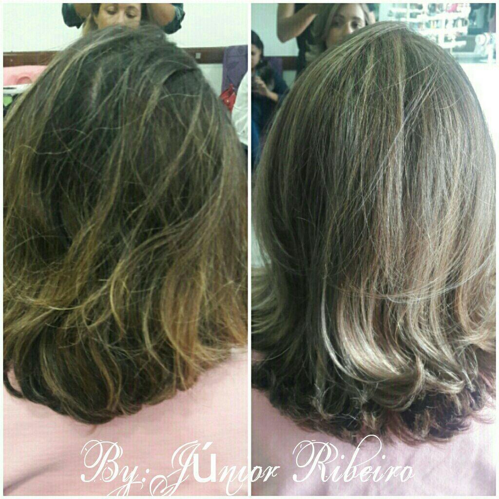 Correção de cor com luze bege perolado. cabeleireiro(a) maquiador(a)