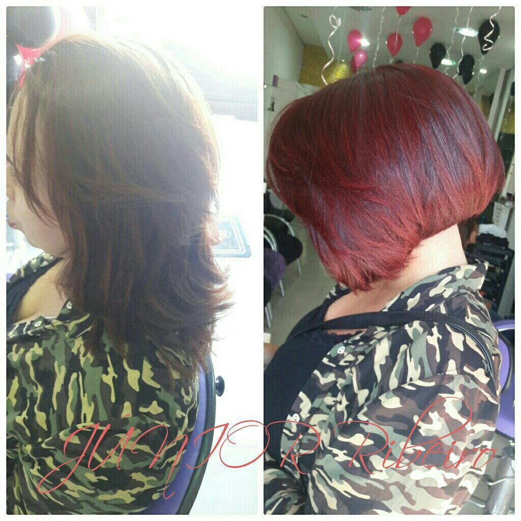 Corte chanel clássico e cor Vermelho intenso Marsala. cabeleireiro(a) maquiador(a)