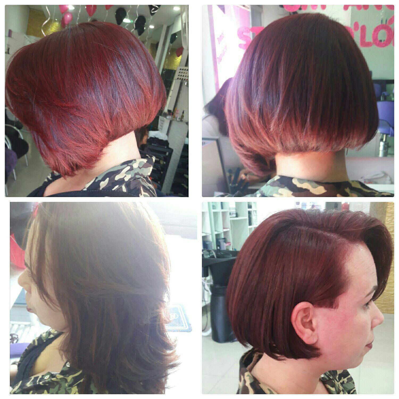 Outros ângulos do cabelo vermelho intenso marsala. cabeleireiro(a) maquiador(a)