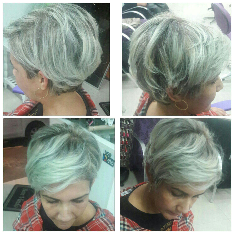 Aquele corte curtinho que empodera com  a técnica de luzes monocromática Ice Platinum. cabeleireiro(a) maquiador(a)