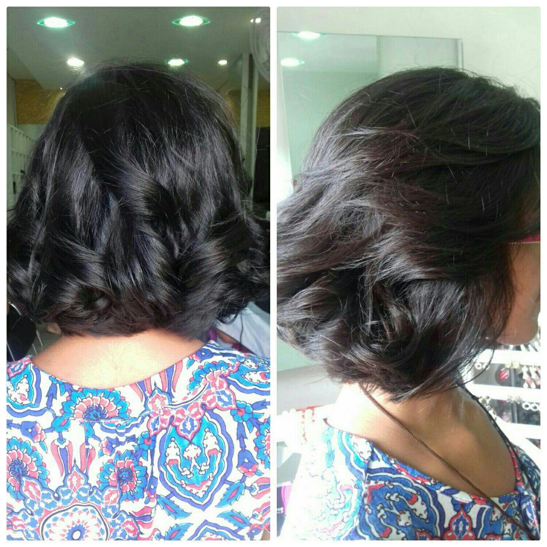 Short bob na altura do colar e escova modelada. cabeleireiro(a) maquiador(a)