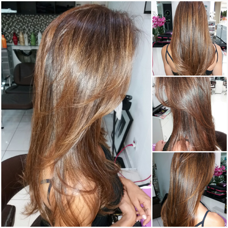 Corte, cor e luzes cabelo
