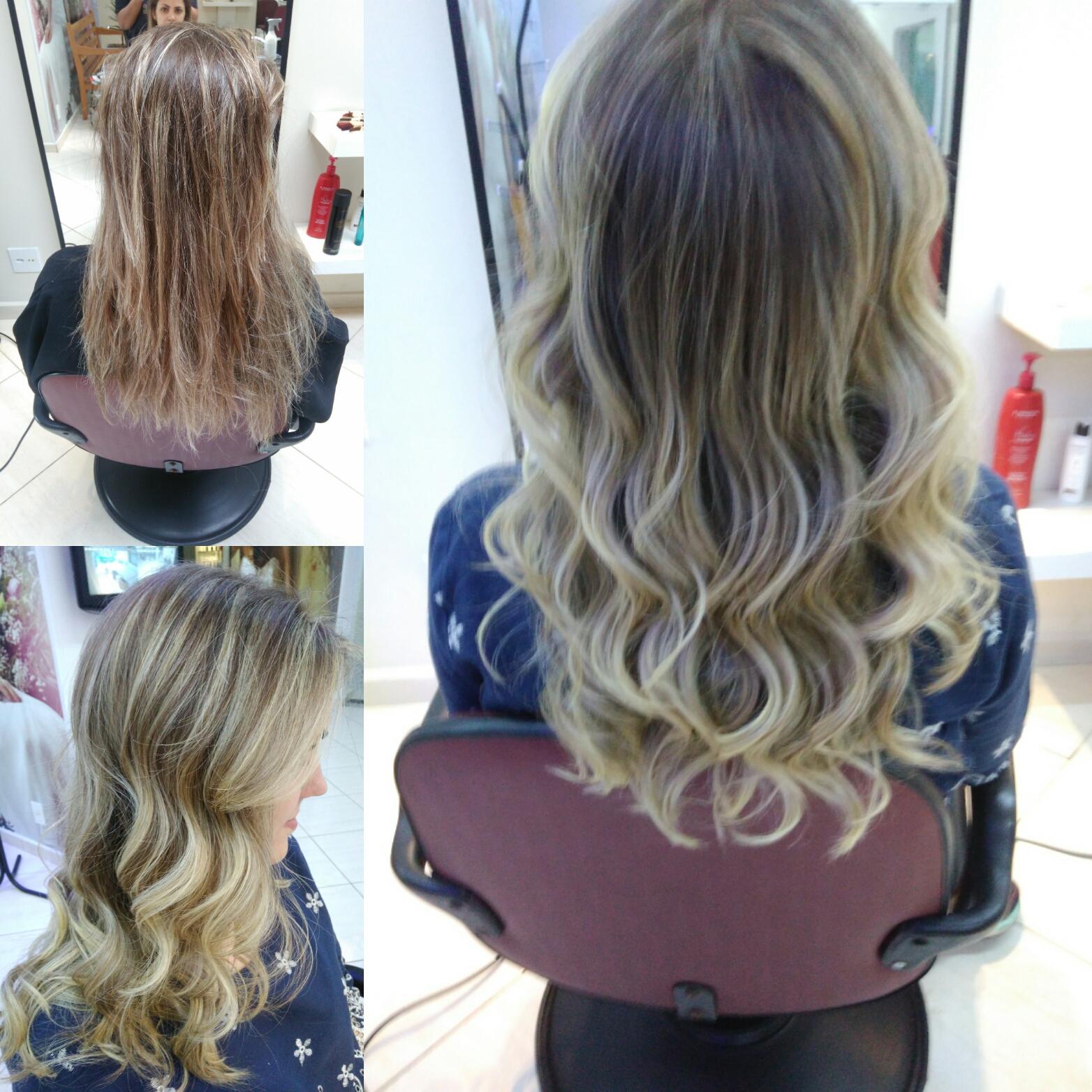 Luzes e escova ondulada  cabelo auxiliar cabeleireiro(a)