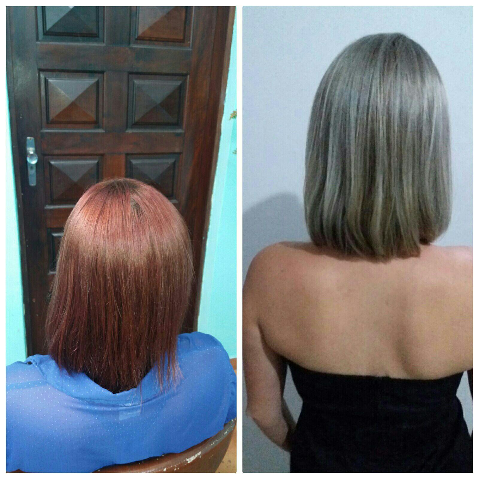 Do vermelho para o loiro  Antes e Depois cabelo cabeleireiro(a) designer de sobrancelhas micropigmentador(a)