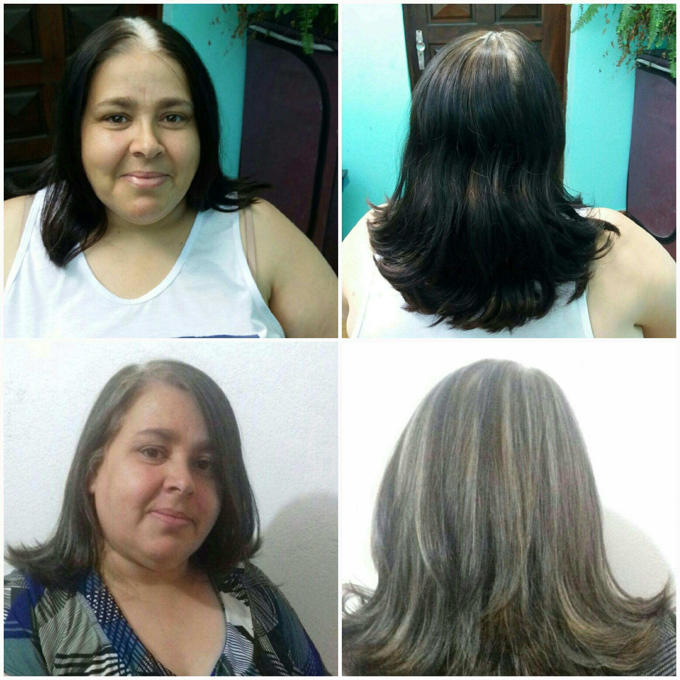 Antes e Depois  Luzes com o papel. cabelo cabeleireiro(a) designer de sobrancelhas micropigmentador(a)