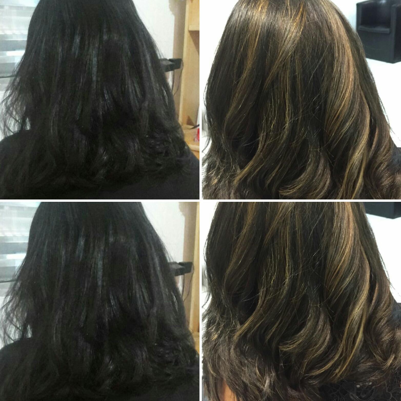 Morena iluminada. Luzes em cabelo castanho escuro natural. cabelo auxiliar cabeleireiro(a) estudante (cabeleireiro) cabeleireiro(a)