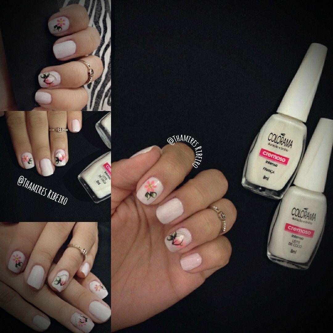 #colorama #esmalte #branco #mão unha manicure e pedicure designer de sobrancelhas