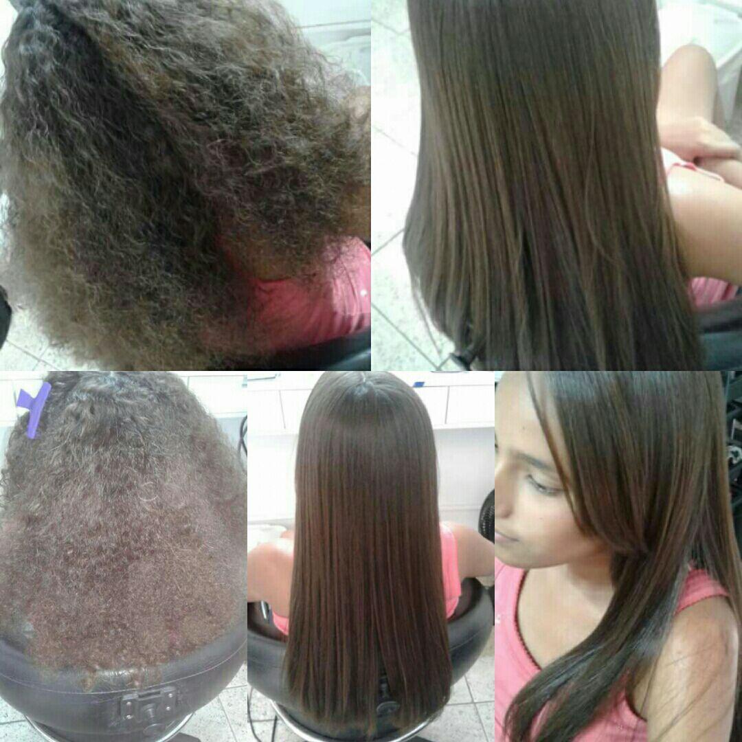 Progressiva antes e depois cabelo cabeleireiro(a)