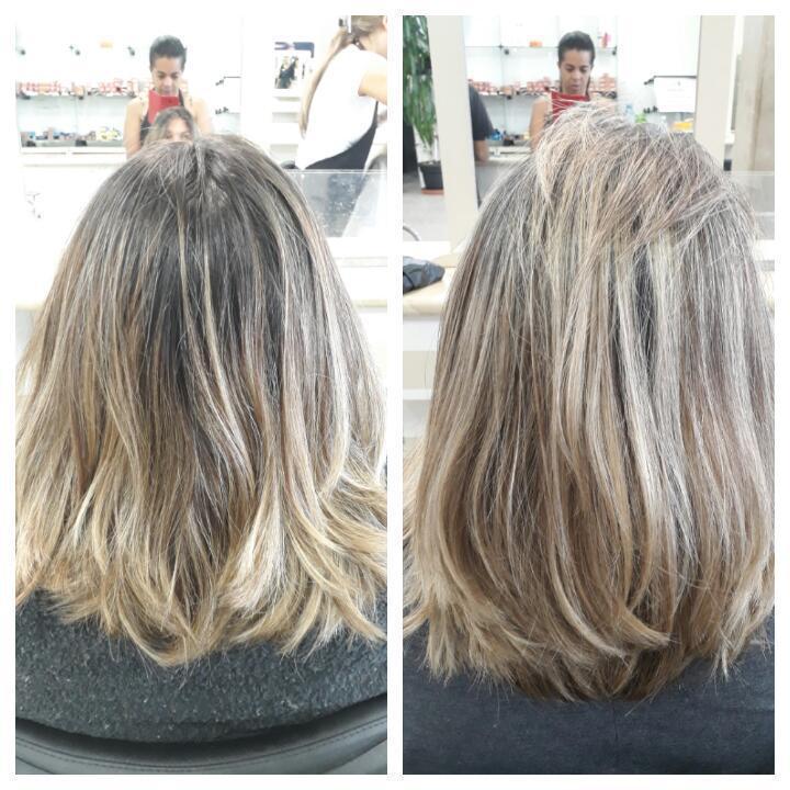 Retoque de luzes.  cabelo auxiliar cabeleireiro(a)