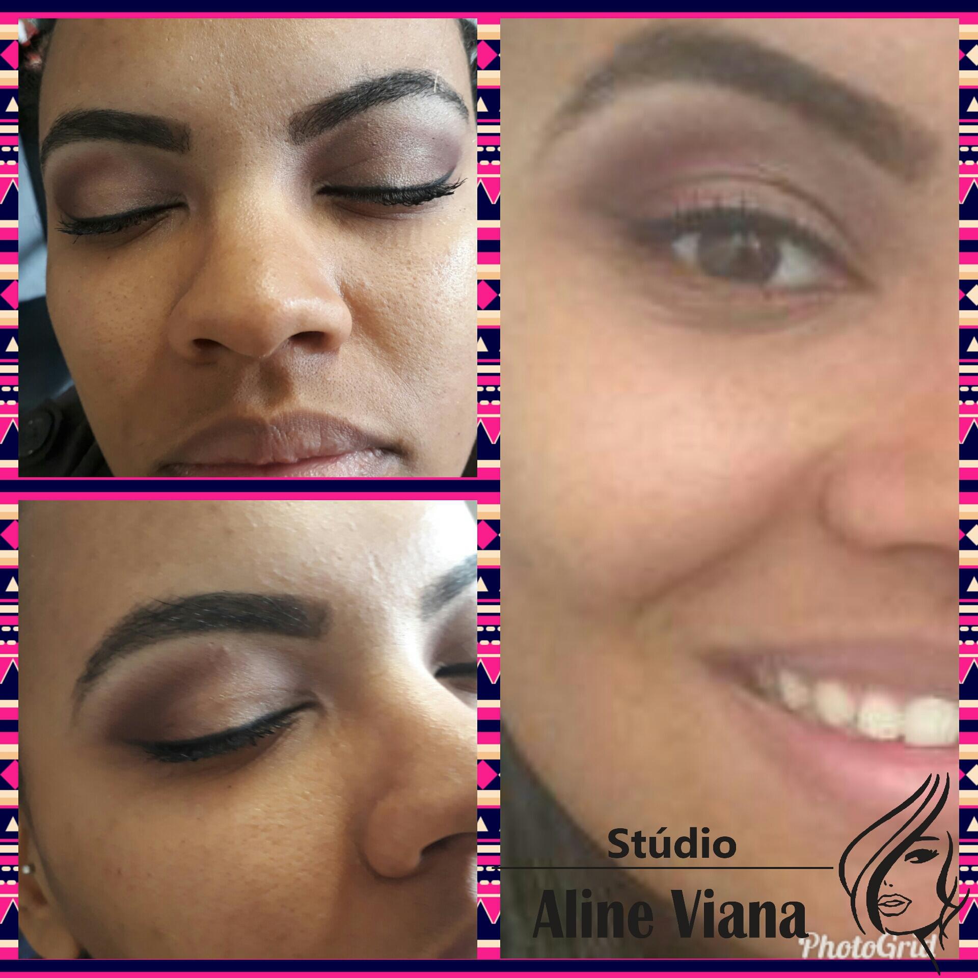 Maquiagem que ressalta o olhar da cliente e o sorriso no rosto é  demonstração da satisfação da cliente. maquiagem auxiliar cabeleireiro(a) designer de sobrancelhas