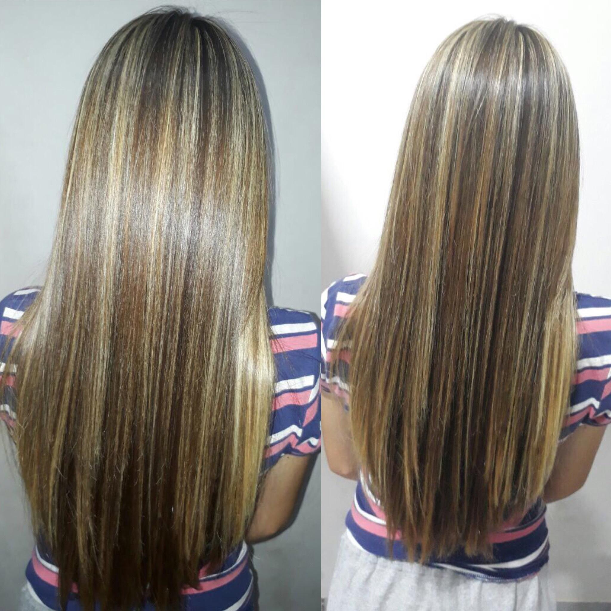 Mechas e alinhamento dos fios  cabelo cabeleireiro(a)