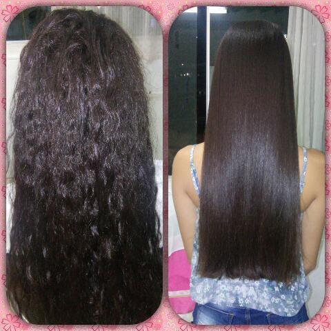 Antes e depois realizado botox cabelo auxiliar cabeleireiro(a)
