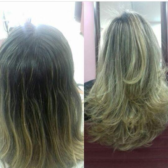 Retoque de mechas e corte. cabelo cabeleireiro(a)