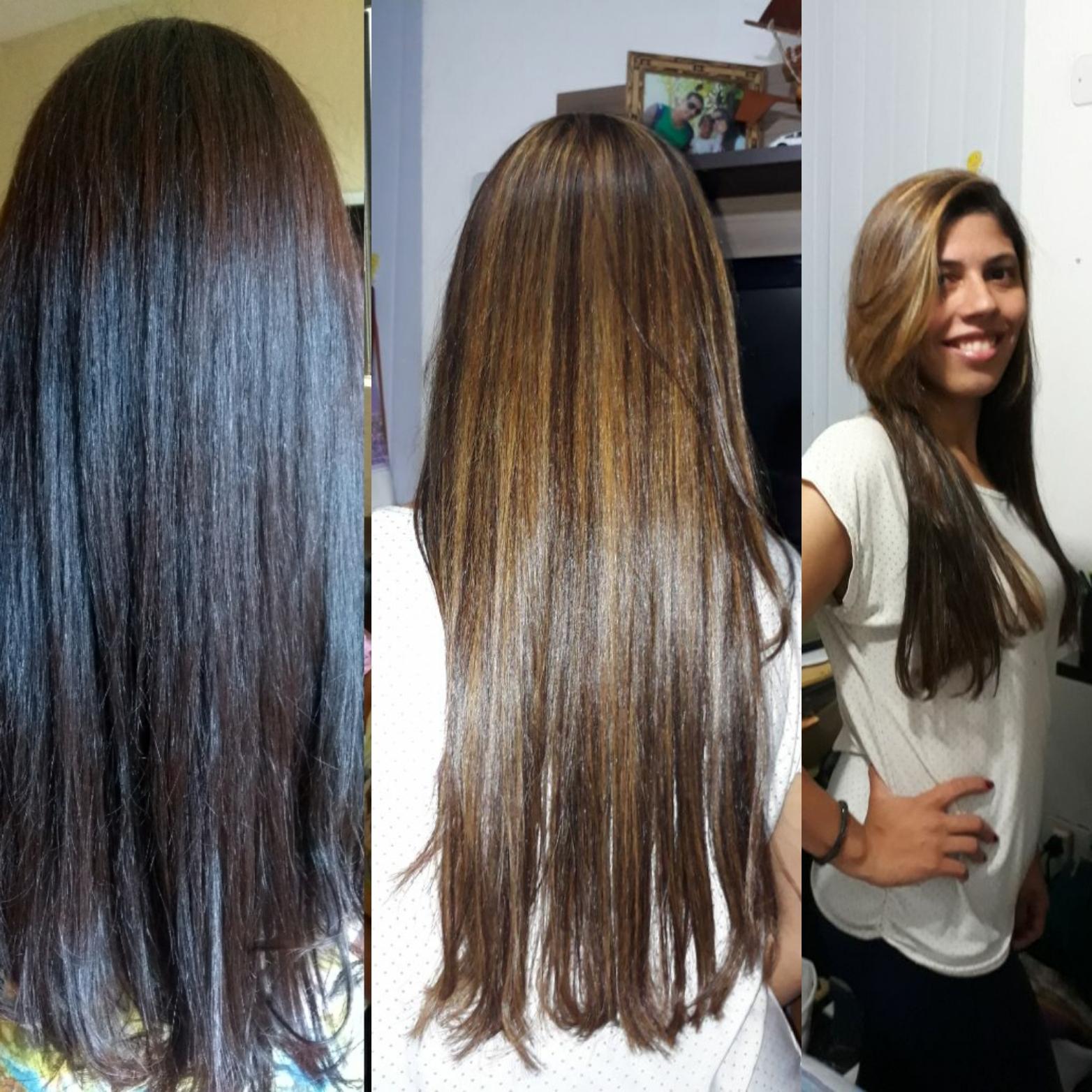Este cabelo era um castanho escuro a cliente queria dar uma iluminada aos fios. E assim foi feito. cabelo estudante (cabeleireiro) auxiliar administrativo manicure e pedicure recepcionista