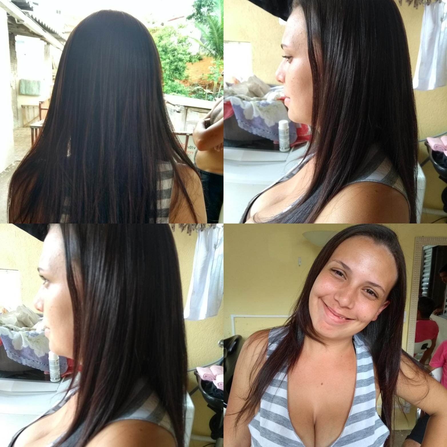 Alisamento feito por progressiva cliente com os cabelos totalmente enrolados  cabelo estudante (cabeleireiro) auxiliar administrativo manicure e pedicure recepcionista