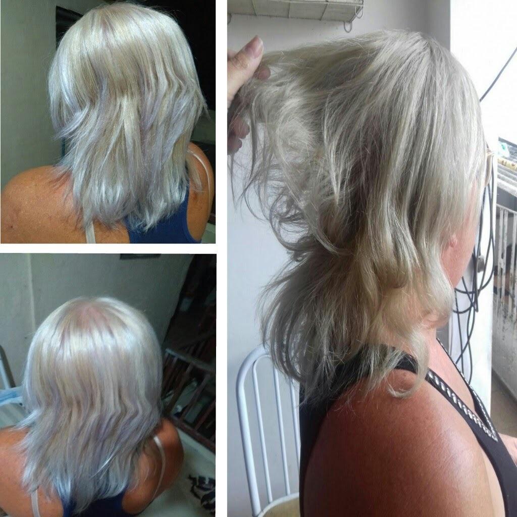 Cliente queria patinar os cabelos. Cabelos com raiz em loiro claro mas com nuances em luzes claras. Cliente com muitos cabelos brancos.  Usei ox de 30 volumes e pó descolorante de 7 tons. Tonalizei hidratei e matizei esse cabelos escovei, mas a cliente prendeu o cabelo por isso das ondas. Fiz teste de mecha antes do procedimento. cabelo estudante (cabeleireiro) auxiliar administrativo manicure e pedicure recepcionista