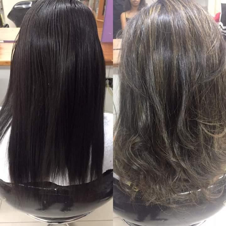 Luzes morena iluminada . cabelo estudante (cabeleireiro)