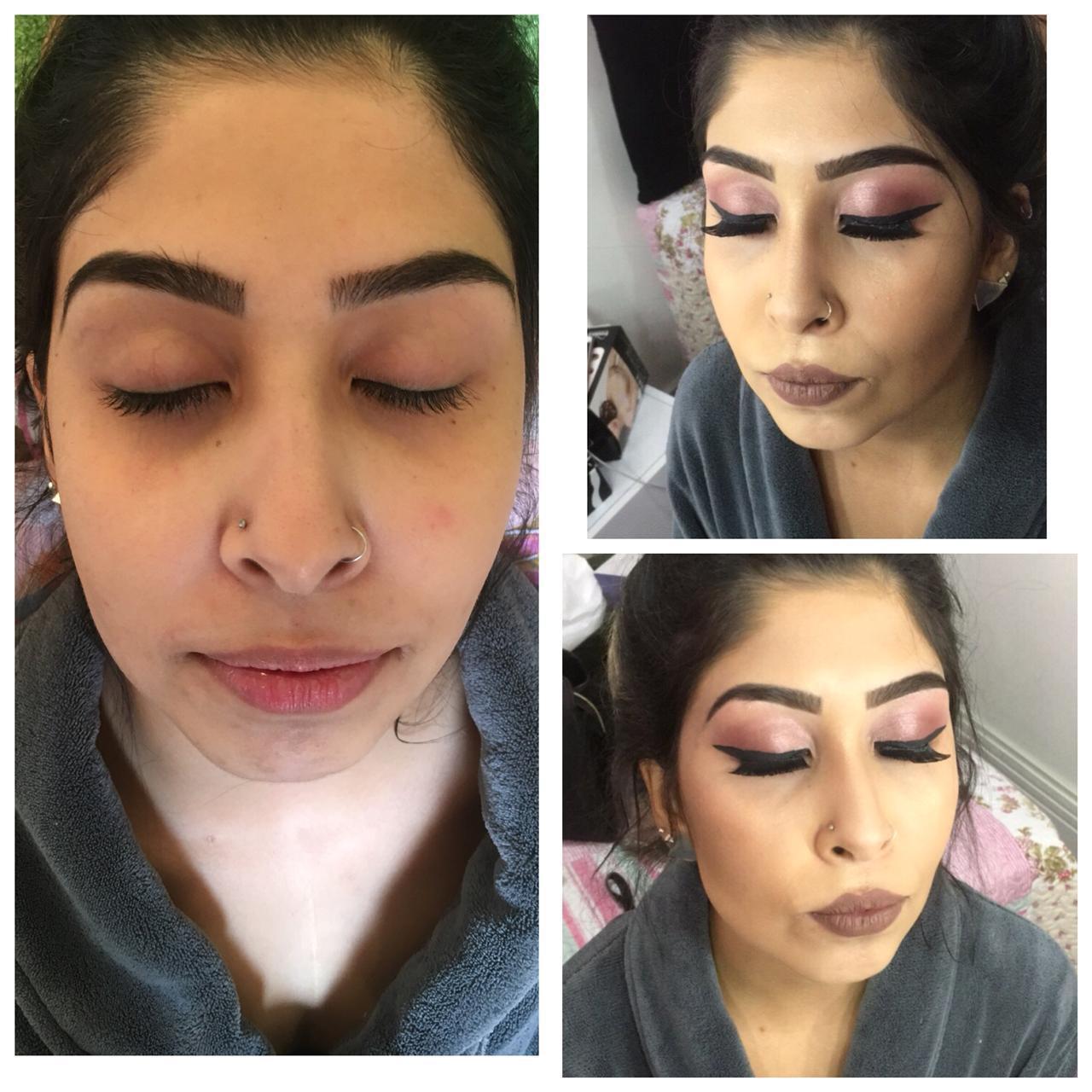 Make para festa de aniversario, rosa gold com delineado.  maquiagem maquiador(a)