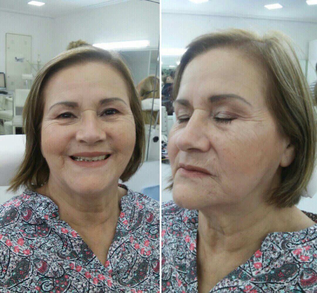 Maquiagem leve para a pele madura ficar bem natural apenas realçando a beleza da cliente. maquiagem maquiador(a)