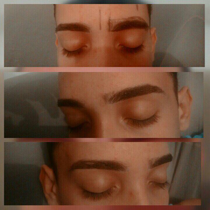 Design de sobrancelha masculino. outros estudante (cabeleireiro) designer de sobrancelhas