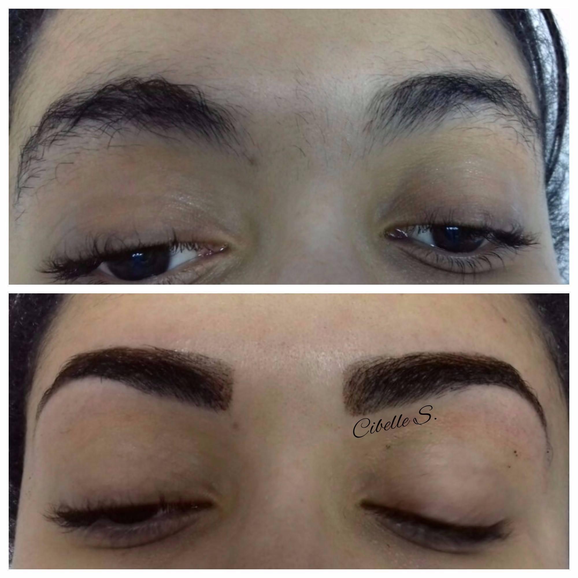 Design de sobrancelha com aplicação de henna.  outros designer de sobrancelhas