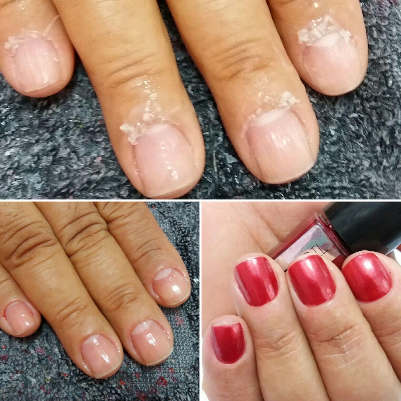 Processo de transformação da mão. Passo a passo cutilada, limpa e esmaltada. #AntesEDepois unha manicure e pedicure