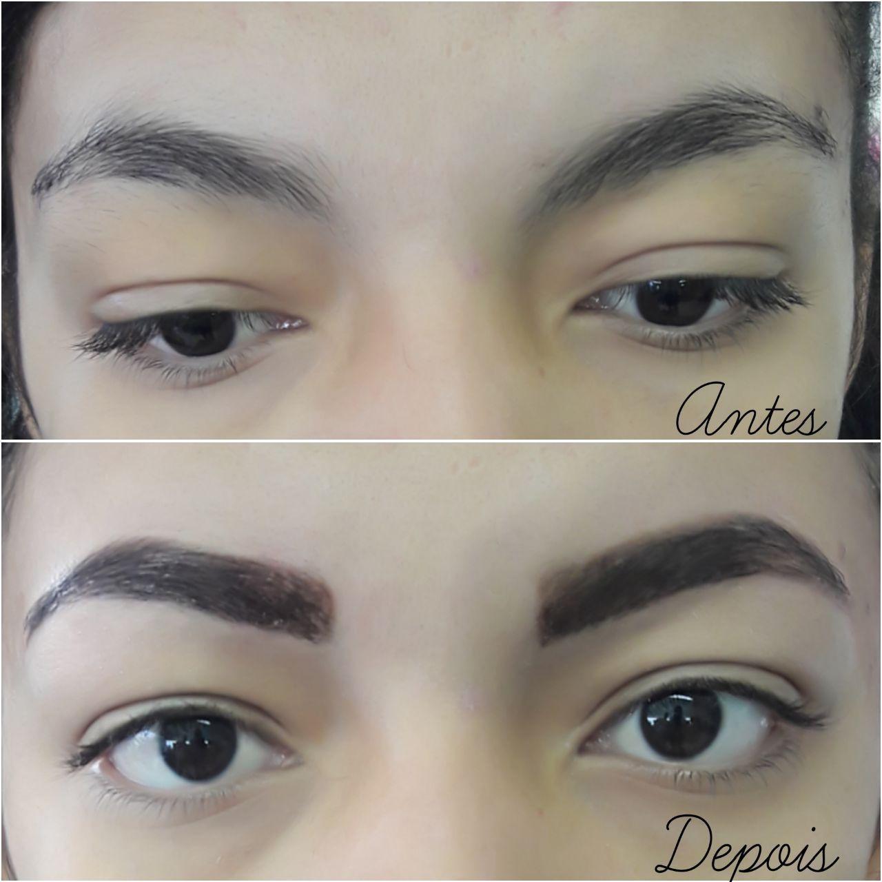 Um antes de depois da cliente  estética designer de sobrancelhas