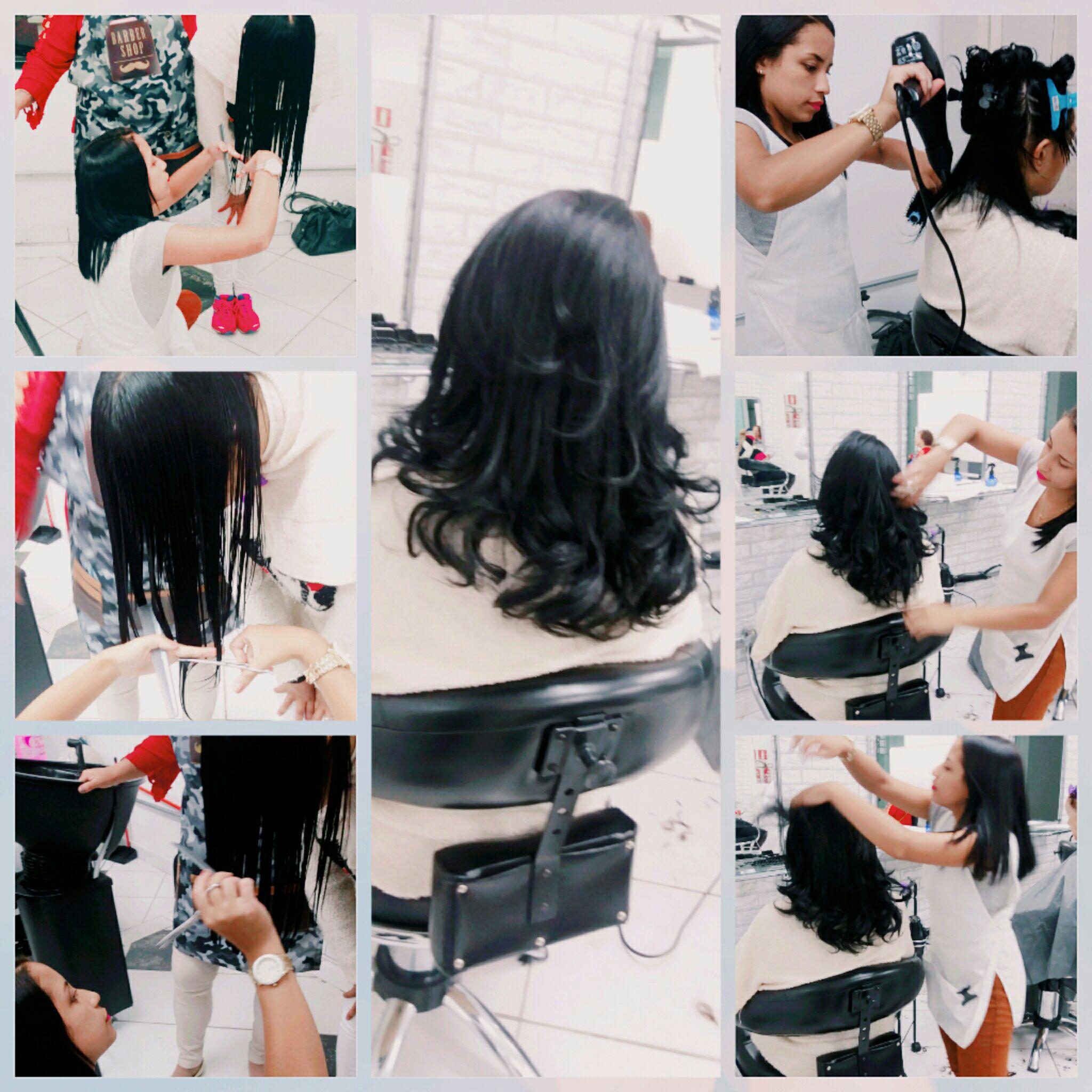 Corte V + escova modelada cabelo auxiliar cabeleireiro(a) auxiliar cabeleireiro(a)