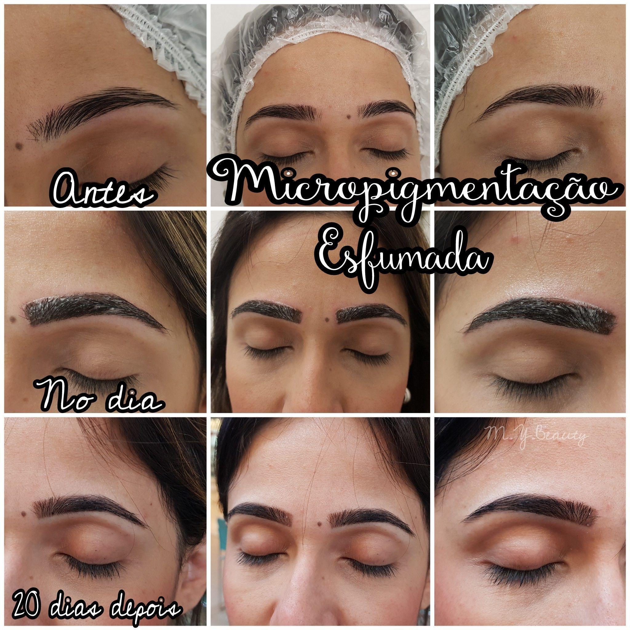 Micropigmentação de sobrancelhas com técnica esfumada estética depilador(a) depilador(a) designer de sobrancelhas