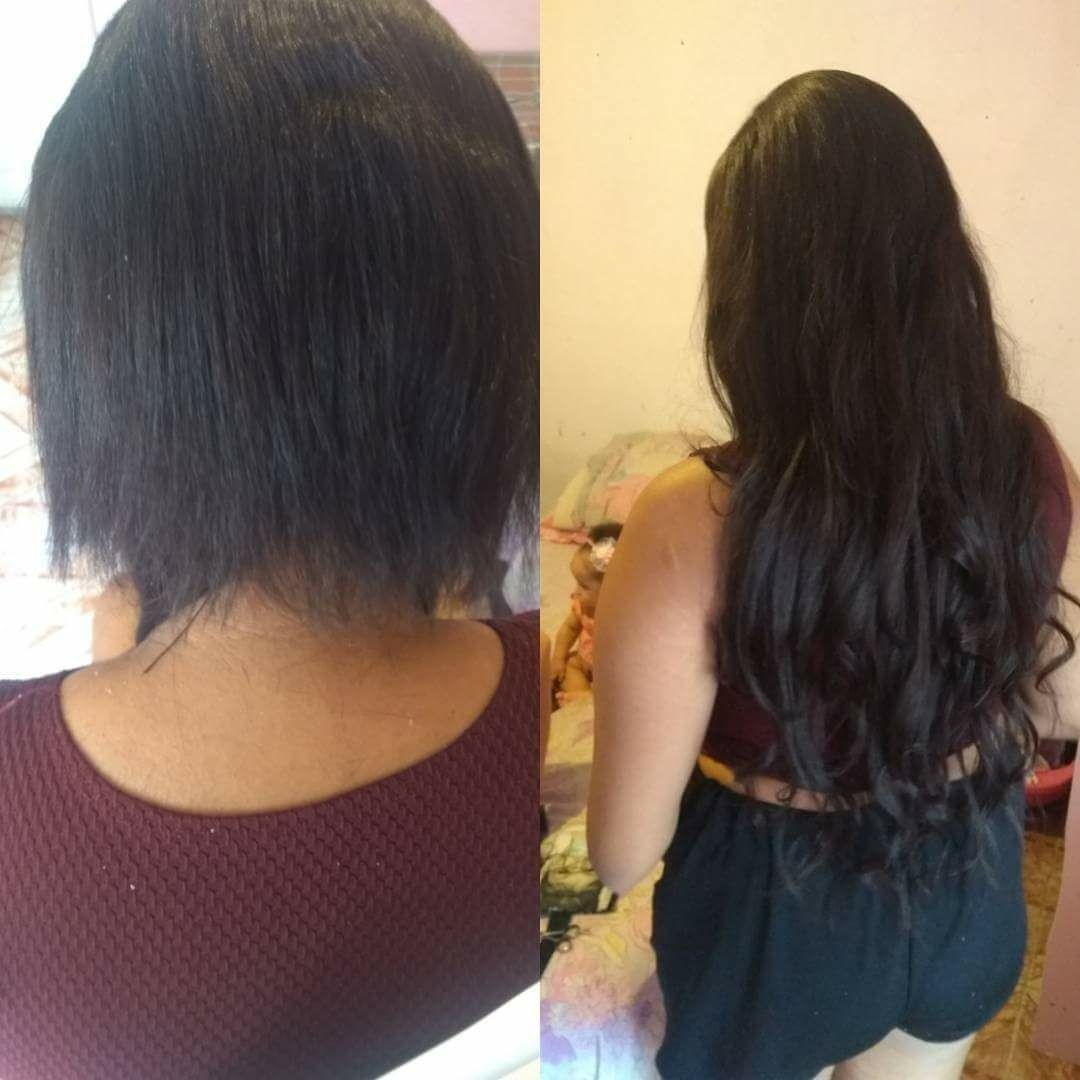 Alongamento de cabelos, método fio-a-fio cabelo cabeleireiro(a) maquiador(a) estudante (manicure)