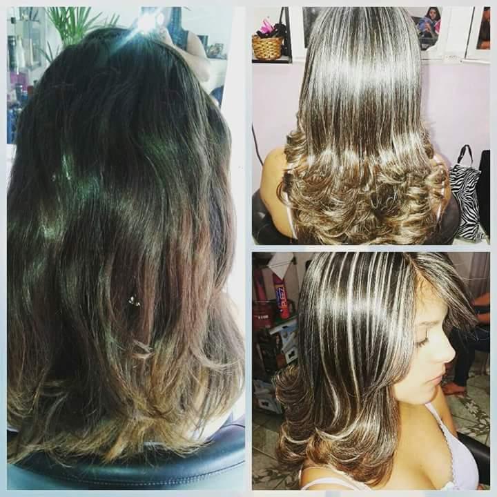Mechas+corte+escova modelada cabelo auxiliar cabeleireiro(a)