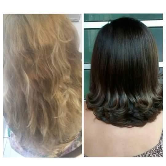 Corte e correção de cor. cabelo