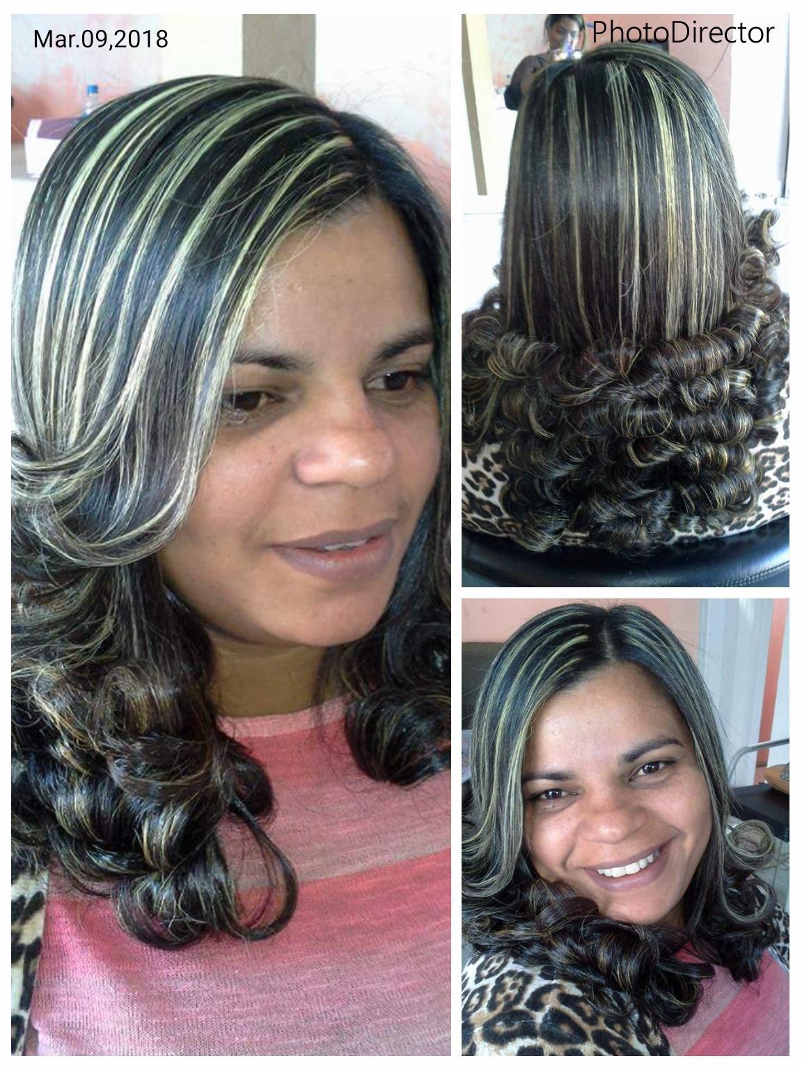 Mechas, corte em camadas, prancha modelada cabelo auxiliar cabeleireiro(a)