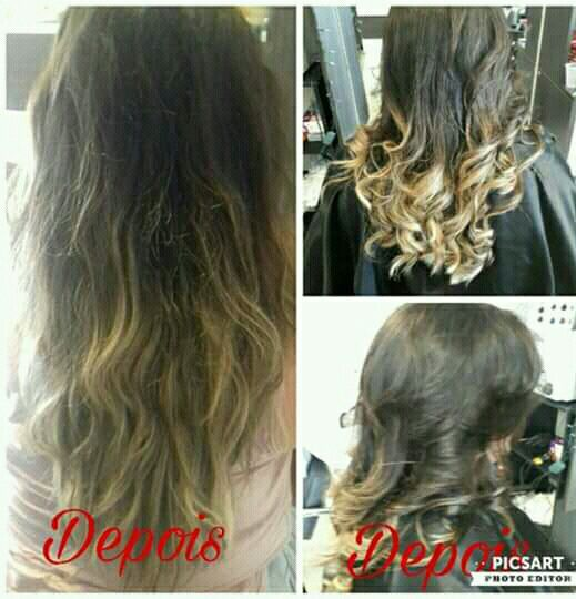 Corte degrade longo e escova cabelo cabeleireiro(a)