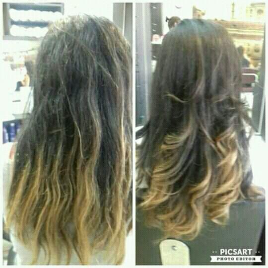 Hidratação e corte degrade cabelo cabeleireiro(a)