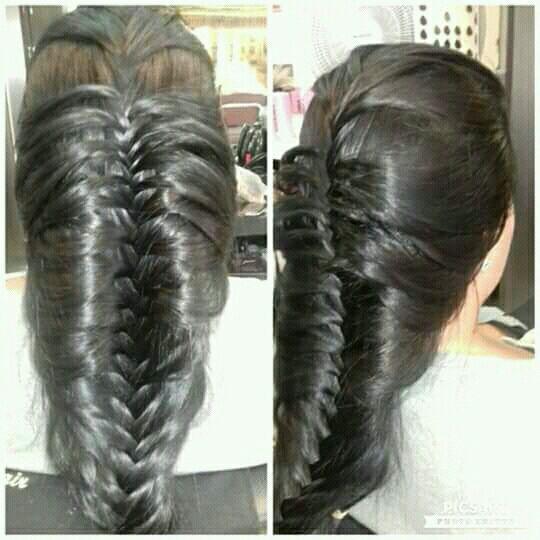 Trança escama de peixe cabelo cabeleireiro(a)