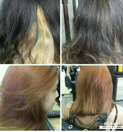 Limpeza de cor e coloração cabelo cabeleireiro(a)