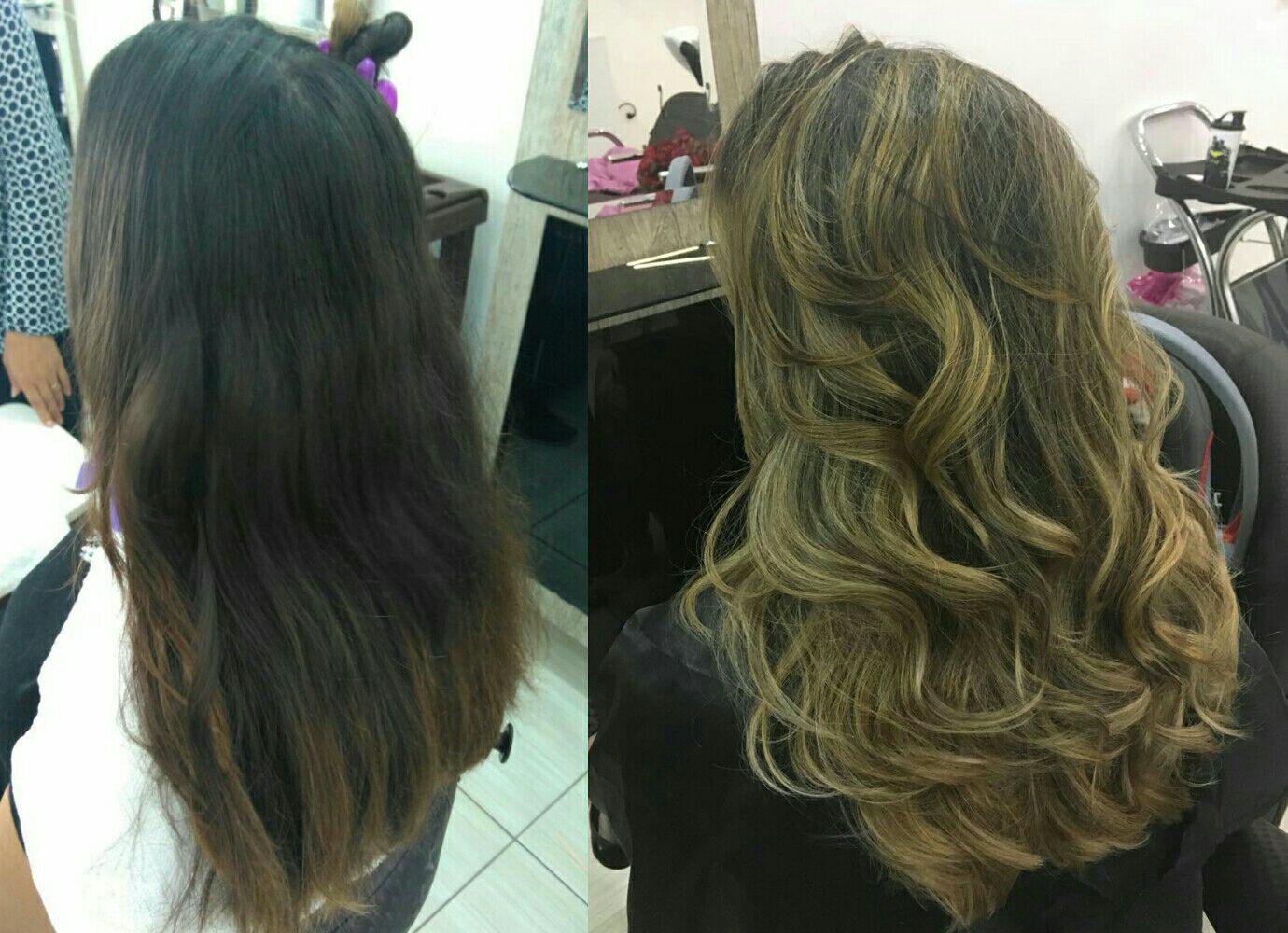 Morena com iluminação em 2 tons e corte em camadas para leveza e movimento dos fios. cabelo cabeleireiro(a) cabeleireiro(a)