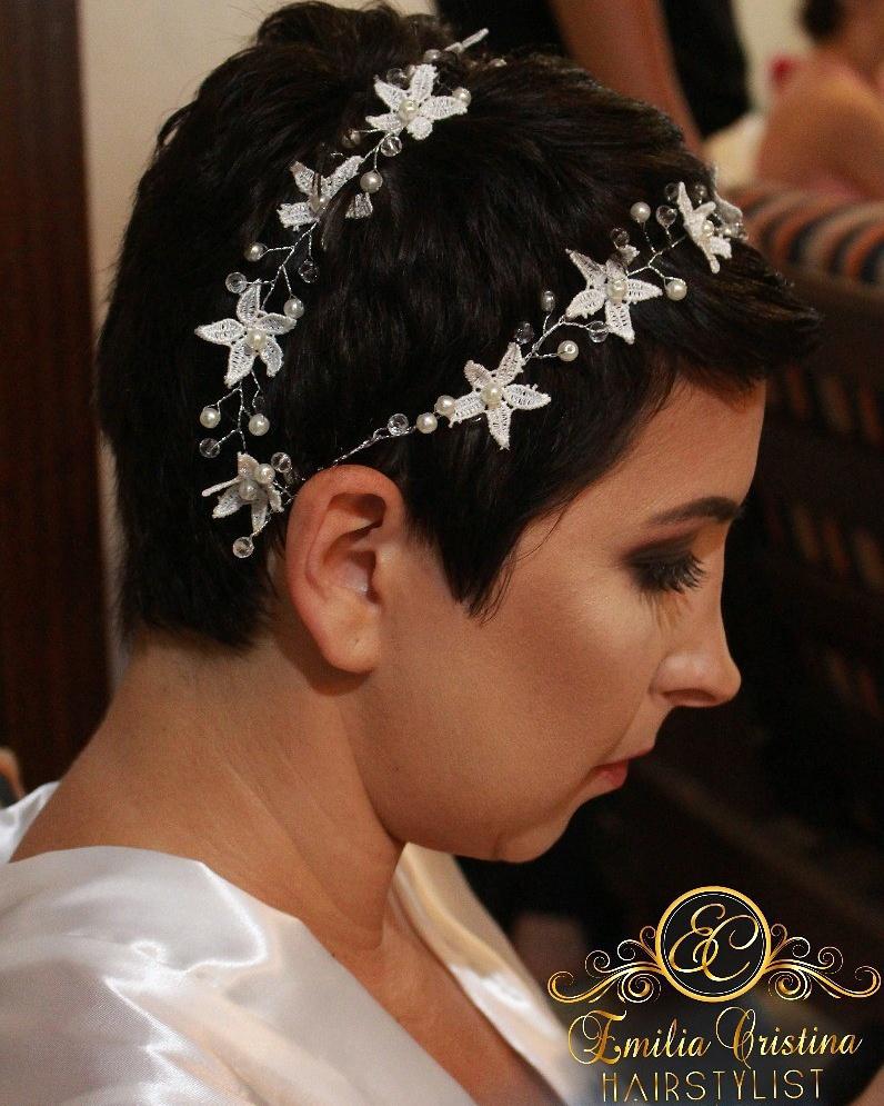 Noiva cabelo curto😍😍modelagem e aplicação de acessório ,casamento praia cabelo cabeleireiro(a) stylist / visagista