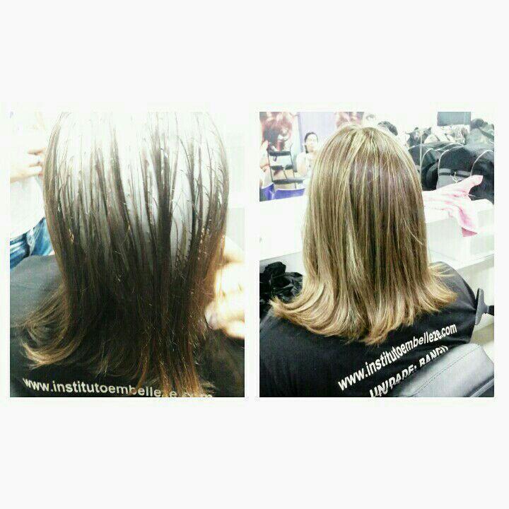 Luzes na touca + reconstrução cabelo estudante (cabeleireiro) designer de sobrancelhas