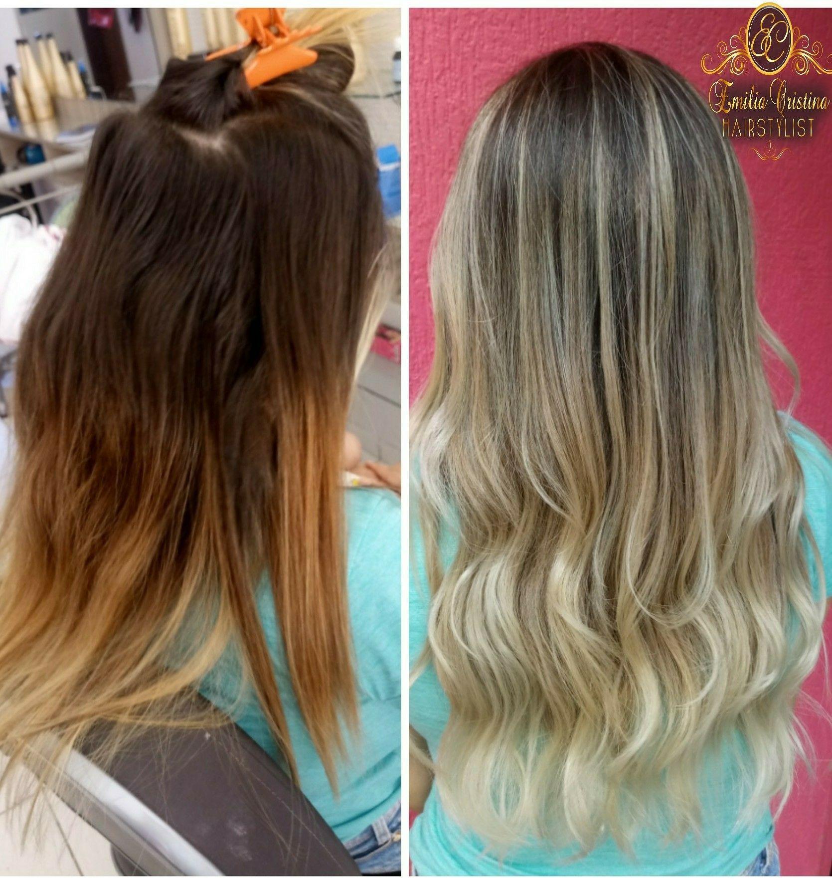 Antes e depois !! Antes um cabelo com coloração e depois um lindo OMBRE HAIR #ombrear#loiros cabelo cabeleireiro(a) stylist / visagista