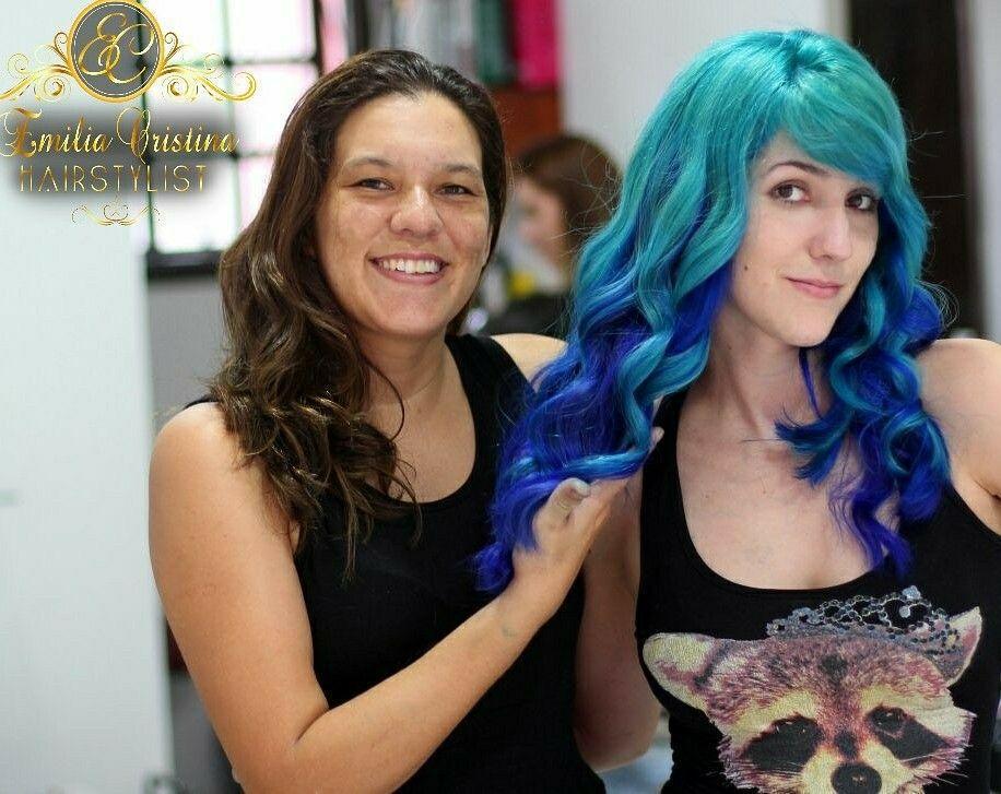 Cabelo colorido azul claro ,azul escuro e roxo por baixo#cabelocolorido#cabelo azul# cabelo cabeleireiro(a) stylist / visagista