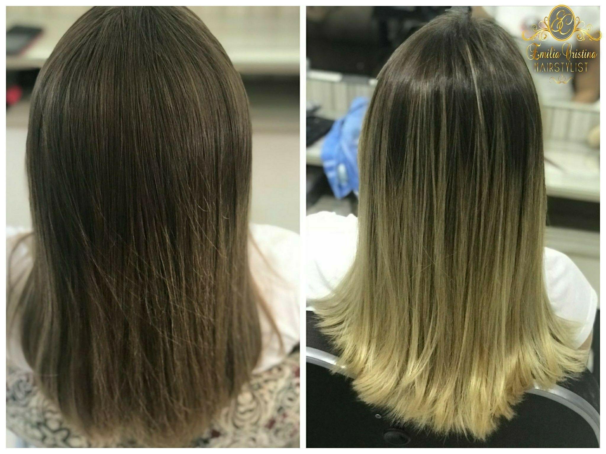 Antes e depois ! OMBRE HAIR loiro Dourado #ombrehair #loiro Dourado#loiros cabelo cabeleireiro(a) stylist / visagista