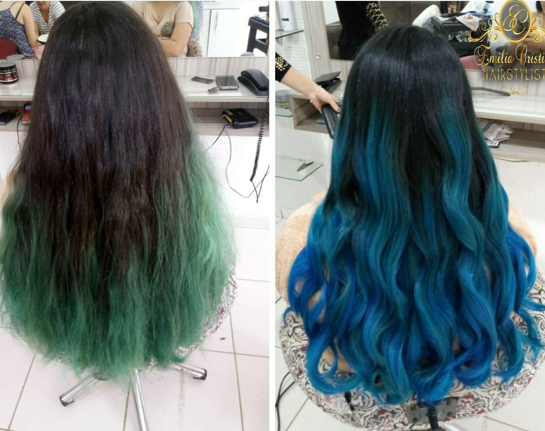 OMBRE HAIR azul! #cabeloazul#cabelocolorido# cabelo cabeleireiro(a) stylist / visagista