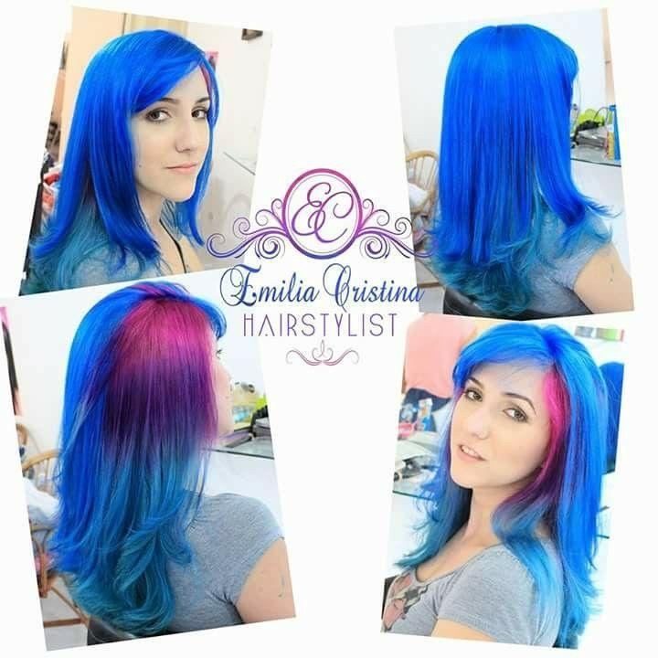 Cabelo colorido azul,rosa e roxo cabelo cabeleireiro(a) stylist / visagista